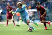 30.04.2017. Stadio Olimpico, Rome, Italy. Serie A. Roma versus Lazio.  Biglia and El Shaarawy in action during the match Serie A in olimpic stadium in Rome.